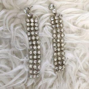 Long Faux Diamond Box Hanging Earrings